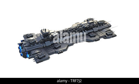 Spaceship flying, alien UFO spacecraft in flight isolated on white background, top view, 3D rendering - Stock Image