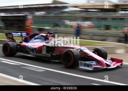 Silverstone Circuit. Northampton, UK. 13th July, 2019. FIA Formula 1 Grand Prix of Britain, Qualification Day; SportPesa Racing Point, Sergio Perez Credit: Action Plus Sports/Alamy Live News - Stock Image