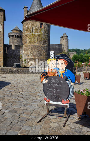 Breton menu outside a cafe at the castle in Fougères, Brittany, France - Stock Image