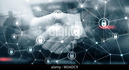 Corporate Data protection. Cyber Security Privacy Business Internet Technology Concept - Stock Image