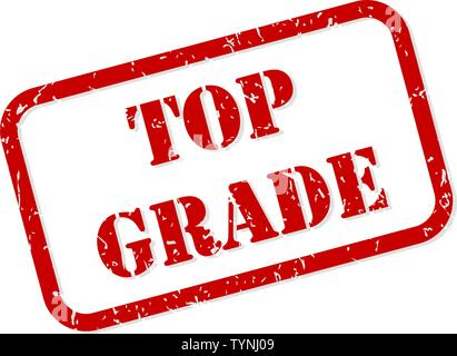 Top grade red rubber stamp vector isolated - Stock Image