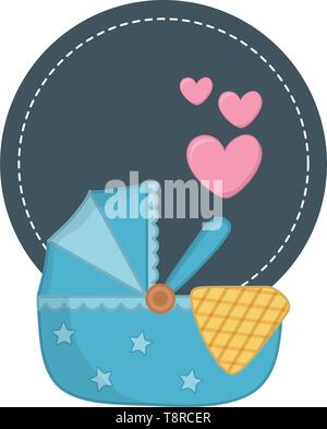 round frame with cradle and a blanked with hearts vector illustration graphic design - Stock Image