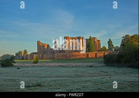 Kenilworth Castle, Warwickshire early autumn morning landscape scene - Stock Image