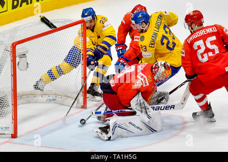 Bratislava, Slovakia. 21st May, 2019. OLIVER EKMAN-LARSSON (2nd right) of Sweden scores and next L-R ELIAS LINDHOLM (SWE), DINAR CHAFIZULLIN (RUS), goalie of Russia ANDREI VASILEVSKIY, MIKHAIL GRIGORENKO in action during the match between Sweden and Russia within the 2019 IIHF World Championship in Bratislava, Slovakia, on May 21, 2019. Credit: Vit Simanek/CTK Photo/Alamy Live News - Stock Image