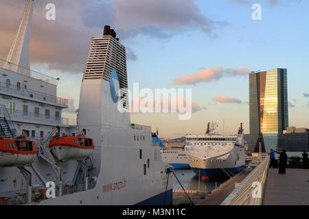 CMA tower, Marseille harbour, Provence, France - Stock Image