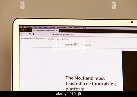 Gofundme website, fundraising website, gofundme home page, online fundraising, gofundme web page, fundraising websites, raise funds online, beg online - Stock Image