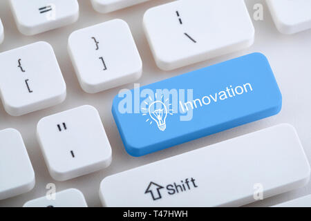 Computer keyboard with innovation button - Stock Image