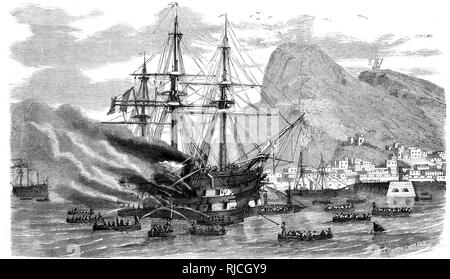 Off the coast of Gibraltar, the ship the Prince Jerome is on fire, with men still on board as men in longboats try to rescue them, and put out the fire. - Stock Image
