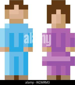 Woman Man Male Female Icon Pixel 8 Bit Game Art - Stock Image