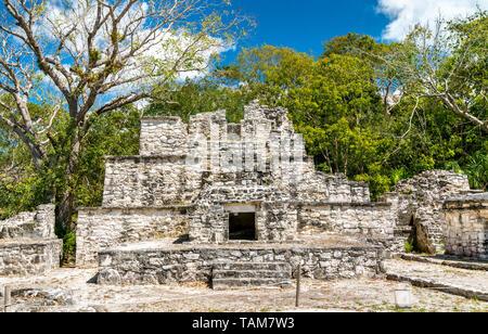 Ancient Mayan Pyramid at Muyil in Quintana Roo, Mexico - Stock Image