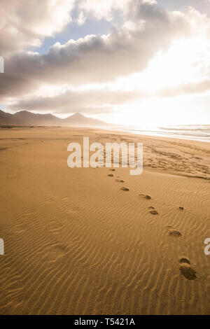 Footprint at the beach for explore in wild scenic place concept during alternative tourism vacation - dramatic cloudy sky and mountains in background  - Stock Image