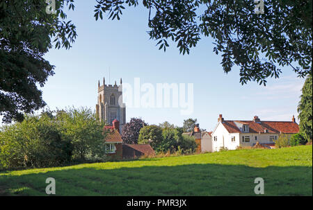 An English country landscape with the tower of the parish church of St Mary the Virgin at North Elmham, Norfolk, England, United Kingdom, Europe. - Stock Image