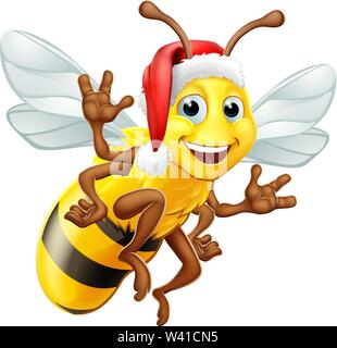 Honey Bumble Bee in Santa Christmas Hat Cartoon - Stock Image