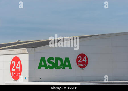 Death of the High Street metaphor / concept - Exterior of 24-hour ASDA store in Bodmin, Cornwall. Out of town shopping concept. - Stock Image