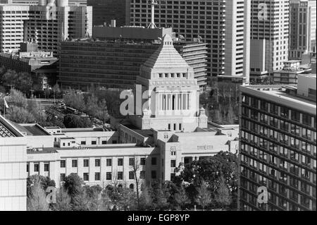 Looking down on the Japanese Parliament or Diet building or Kokaigijido in Tokyo - Stock Image