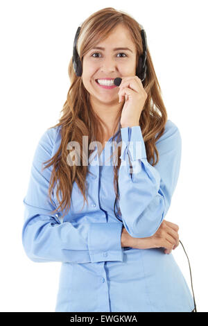 Stock image of female call center operator over white background - Stock Image
