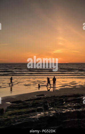 Family and dog on the beach during sunset at Trebarwith Strand in Cornwall, England, UK - Stock Image