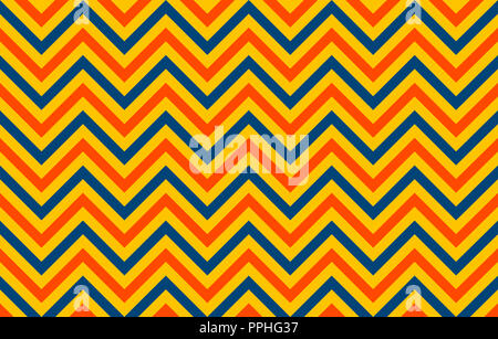 Retro chromatic pattern of chevron lines in orange and blue against a yellow background, graphic resource as abstract background - Stock Image
