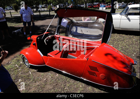 The three-wheeled Messerschmitt KR200, or Kabinenroller (Cabin Scooter), produced between 1955 and 1964 - Stock Image