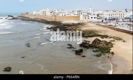 The walls of the Medina and general overview of the ancient port of Essaouira in Morocco - Stock Image