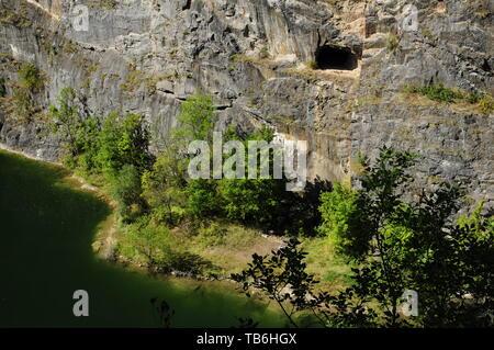 Little America, Czech Canyon, is a partly flooded, abandoned limestone quarry near Karlstejn village, Central Bohemian Region, Czech Republic, August  - Stock Image
