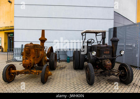 Bielsko-Biala, Poland. 12th Aug, 2017. International automotive trade fairs - MotoShow Bielsko-Biala. Old german Lanz Bulldog tractors. Credit: Lukasz Obermann/Alamy Live News - Stock Image