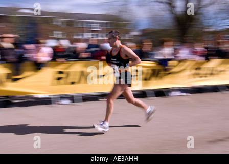 Runner who looks a bit like the PM Gordon Brown running the Nike Milton Keynes half marathon City of Milton Keynes - Stock Image
