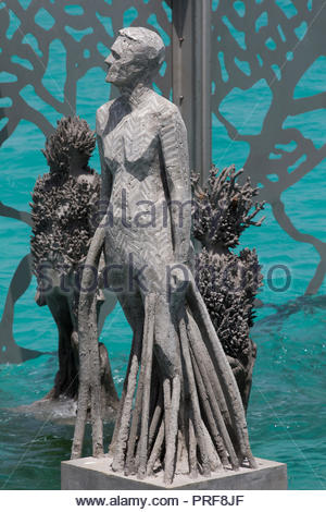Statue of the Coralarium imbedded with coral in Maldives - Stock Image