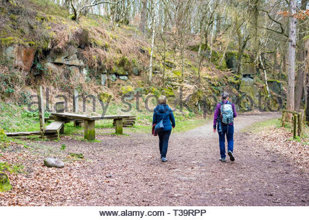 Walkers at Wyming Brook Nature Reserve, managed by the Sheffield and Rotherham Wildlife Trust, Sheffield, England, UK - Stock Image