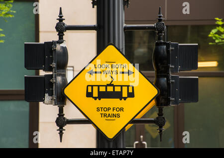 Light Rail Train Warning Sign with Lights - Salt Lake City - Utah - Stock Image