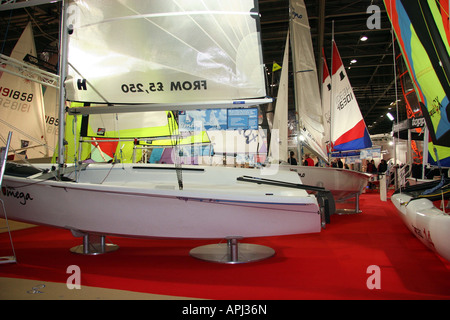 view across the sailing dingies at the london boat show - Stock Image