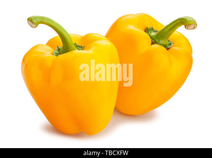 yellow bell pepper path isolated on white - Stock Image