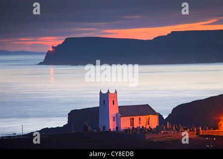 Ballintoy Church captured at Dawn. Co Antrim, Northern Ireland. - Stock Image