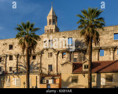 South wall of Diocletian's Palace, Split, Croatia - Stock Image