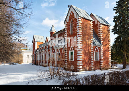 Russian pseudo-gothic architectural style building (1820s) in historic Sukhanovo estate, Moscow oblast, Russia - Stock Image