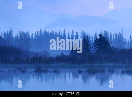 landscape in fog at vermilion lake - Stock Image