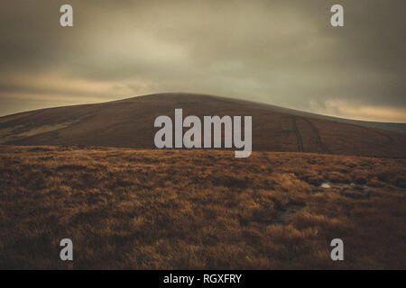 View on the bare landscapes from the summit of Seefin Mountain in Wicklow National Park, Ireland - Stock Image