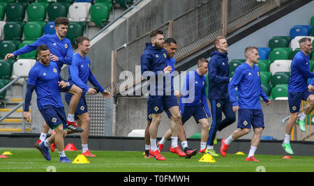 Windsor Park, Belfast, Northern Ireland.20 March 2019. Northern Ireland training in Belfast this morning ahead of their UEFA EURO 2020 Qualifier against Estonia tomorrow night in the stadium. Credit: David Hunter/Alamy Live News. - Stock Image