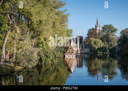 The 'Lake of Love' at Minniewater Park, Bruges, Belgium - Stock Image