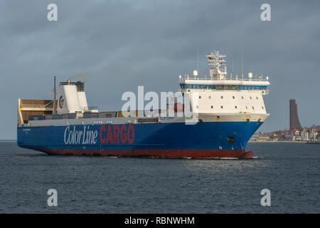 Color Carrier arrives in Kiel for the very first time - Stock Image