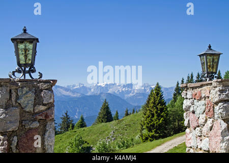 View From The Brauneck To The Mountain Range Of The Karwendel - Stock Image
