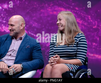 Sports stars, Lawrence Dallaglio and Hannah Cockroft,  discussing 'technology in sport', on the main stage at New Scientist Live - Stock Image