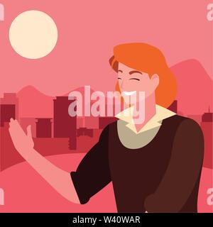 man character portrait city urban background vector illustration - Stock Image