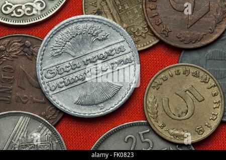 Coins of the Weimar Republic. German 50 Reichspfennig coin (1921). - Stock Image