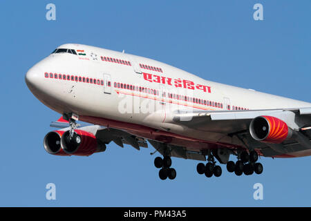 Air India Boeing 747-400 jumbo jet long haul airliner on approach. Closeup front view. - Stock Image