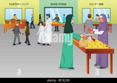 A vector illustration of Muslim People Shopping at a Traditional Market - Stock Image