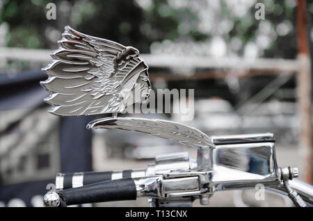 Back of wing mirror on a 2003 Indian Chief Roadmaster motor cycle. - Stock Image