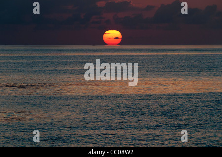 The sun first touches the horizon, with the calm waters of the Coral Sea in the foreground. Taken at Swains Reef - Stock Image