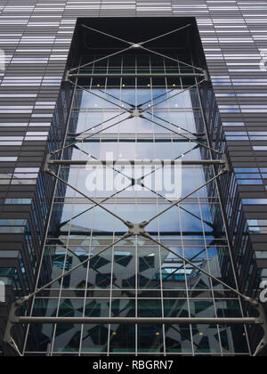 Architectural details from building in the Barcode district in Bjørvika Oslo Norway - Stock Image