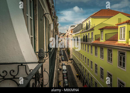 LISBON / PORTUGAL - FEBRUARY 17 2018: VIEW FROM BALCONY AT OLD CITY OF LISBON AT NIGHT - Stock Image